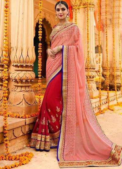 Pink and red chinon wedding saree