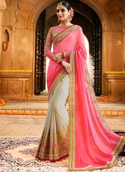 Cream and pink half and half chinon wedding saree