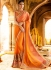 Orange color softy wedding saree