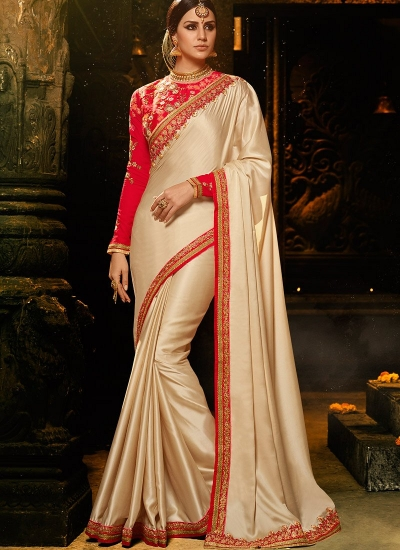 Gold and red burfi silk Party wear saree