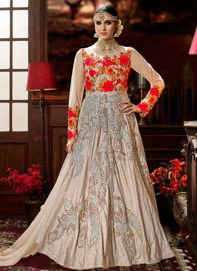 Beige color lenning silk wedding anarkali