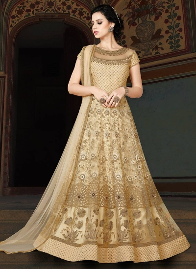 Cream color net wedding anarkali