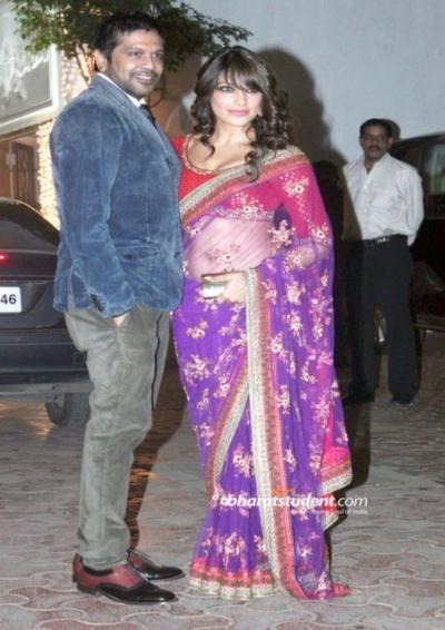 Bipasha Basu at shilpa-shetty-diwali bass violet saree