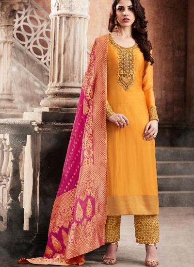 Orange color slub silk wedding anarkali