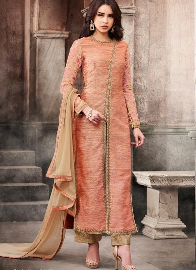Peach color slub silk wedding straight cut kameez