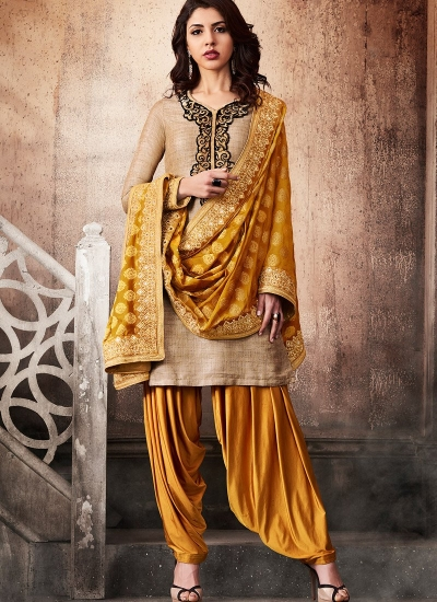 Beige and mustard color khadi silk wedding anarkali