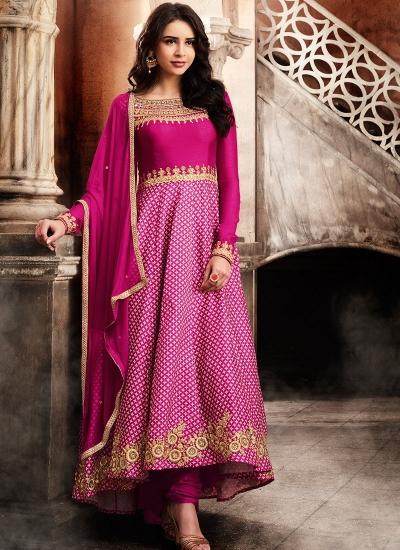 Pink color slub satin wedding anarkali