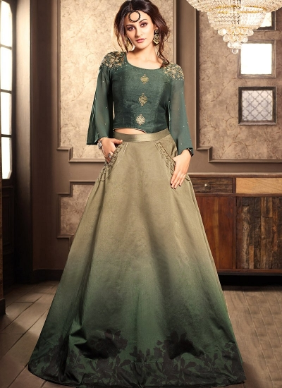 Green viscous georgette and silk wedding lehenga choli