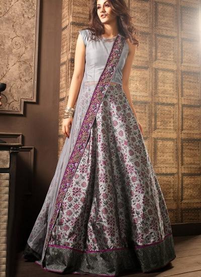 Grey viscous georgette and silk digital wedding lehenga choli