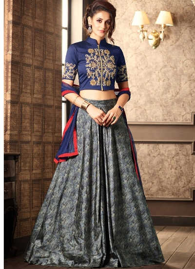 Blue silk digital wedding lehenga choli