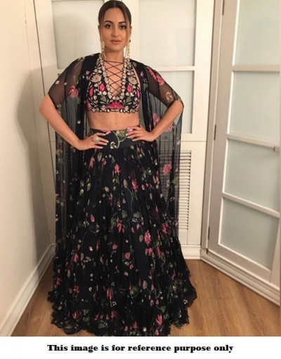 Bollywood Sonakshi Sinha black georgette lehenga