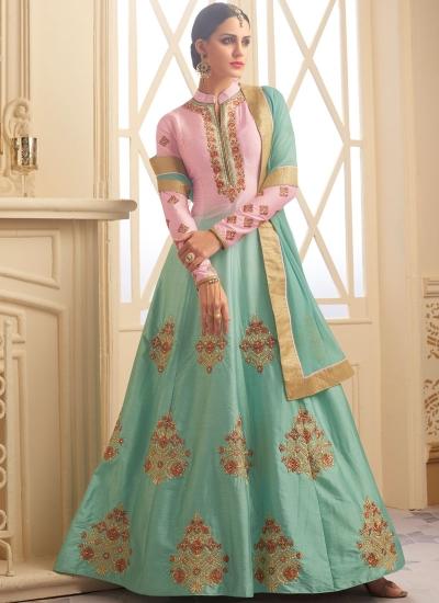 Pista green and pink south chennai silk wedding anarkali