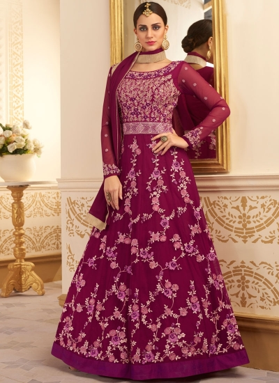 Dark purple silk and net wedding anarkali