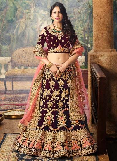 Maroon color velvet and net wedding lehenga choli