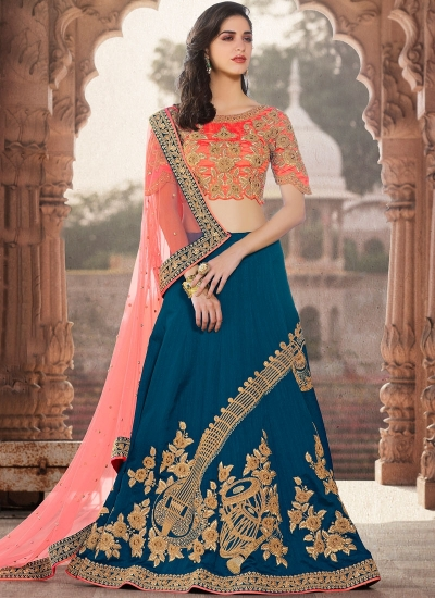 Blue and peach crepe silk wedding lehenga choli