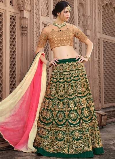 Green and beige banglori silk wedding lehenga choli
