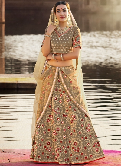 Beige crepe silk wedding lehenga choli