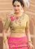 Pink and beige banarasi silk wedding lehenga choli