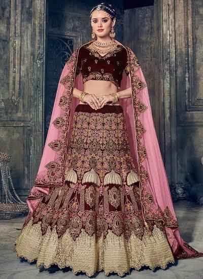 Maroon color velvet wedding lehenga choli