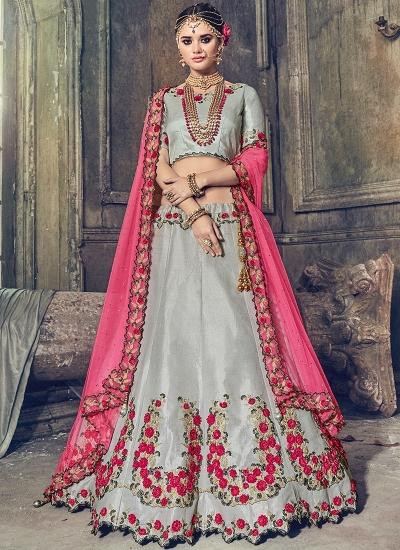 Grey banarasi wedding lehenga choli