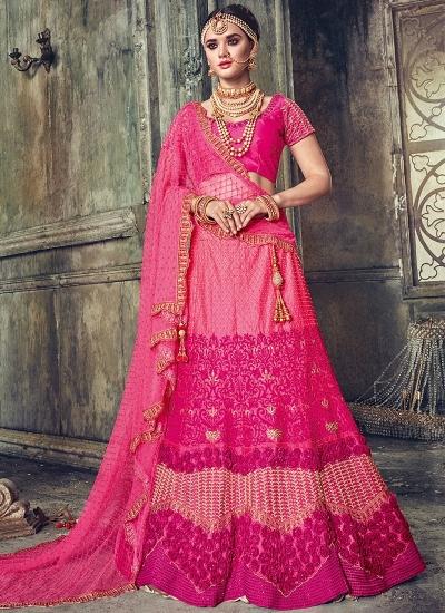 Pink satin wedding lehenga choli