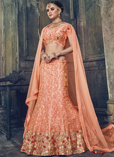 Peach net wedding lehenga choli