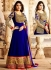 Lara Dutta enchaning blue jacket style anarkali salwar kameez