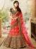 Pink and maroon silk velvet and net wedding lehenga choli