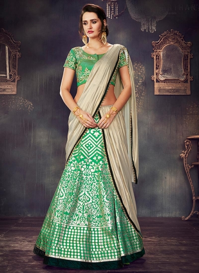 Green dupion wedding lehenga choli