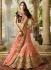Pink color silk velvet and net wedding lehenga choli
