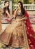 Cream red and wine color wedding lehenga choli