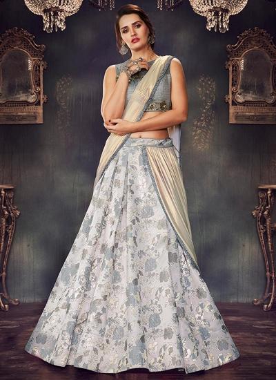 Grey brocade wedding lehenga choli