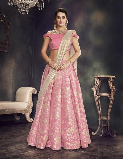 Pink brocade wedding lehenga choli