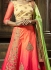 Peach and pink satin silk wedding lehenga choli
