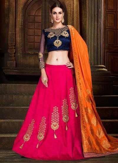 Pink and orange silk wedding lehenga choli