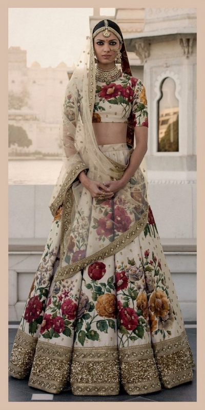 Bollywood Sabyasachi Inspired Ivory art silk bridal lehenga