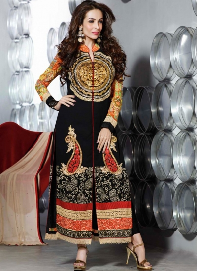 Malaika Arora khan black colour stone work designer salwar kameez