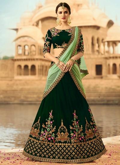 Dark green velvet wedding lehenga choli