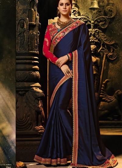 Navy blue color burfi silk Party wear saree