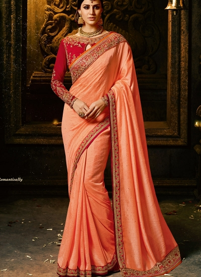 Peach and red silk Party wear saree