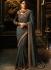 Grey color silk Party wear saree