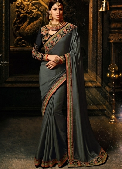 Grey color silk Party wear saree
