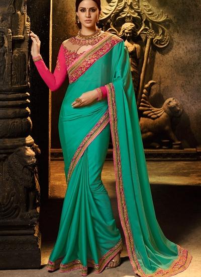 Rama and rani color silk Party wear saree