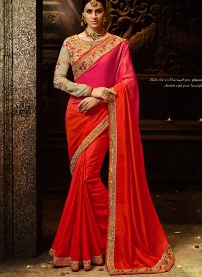 Orange and rani shaded silk Party wear saree