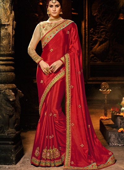 Red and chiku color chinon Party wear saree