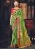 Green and pink Banarasi pure silk wedding wear saree