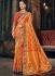 Orange and red Banarasi  pure silk wedding wear saree