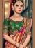 Peach and green Banarasi pure silk wedding wear saree