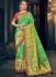 Green and pink Banarasi pure silk wedding wear saree