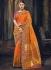 Orange and pink Banarasi pure silk wedding wear saree
